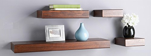 O&K Furniture 4-Piece Espresso- Teak Multilength Floating Ledge Shelves