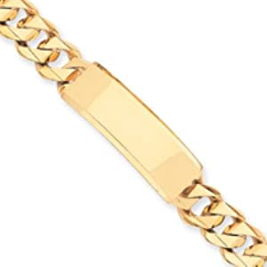 14k Gold HAND POLISHED CURB ID Bracelet Real Goldia Designer Perfect Jewelry Gift