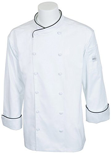 Mercer Culinary Renaissance Men's Scoop Neck Jacket with Black Piping, White