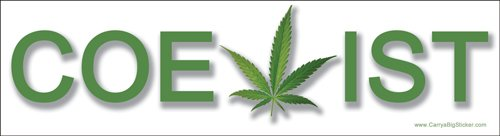 Coexist (with Pot) Pro Marijuana Magnetic Bumper Sticker
