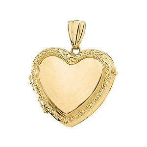 14k Yellow Gold Victorian Heart Locket