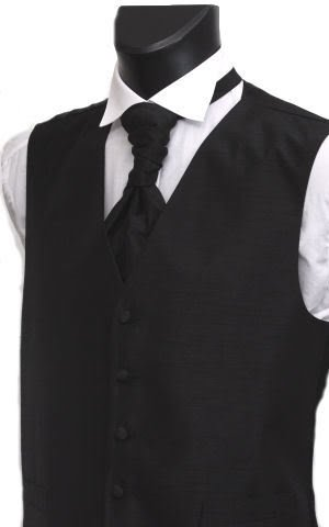 Men's/Youth's Black Waistcoat Shantung Fabric