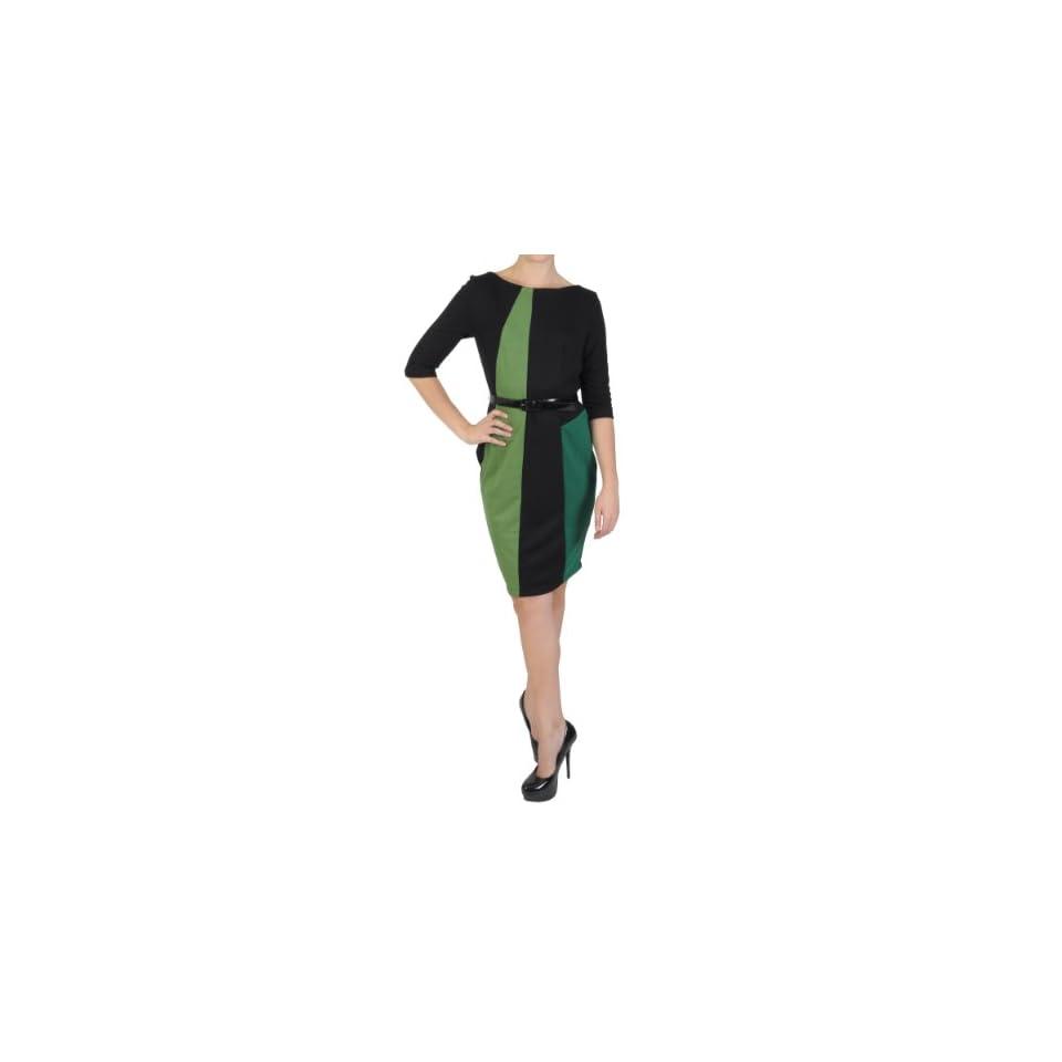 Sangria Womens Half sleeve Color blocked Ponte Dress
