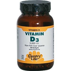 Country Life Life, Gluten Free, Vitamin D3, 5,000 Iu, 200 Softgels