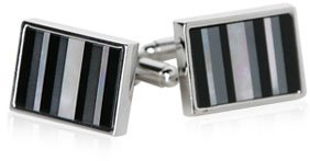 Classy Onyx, Hematite, and Mother of Pearl Cufflinks with Gift Box