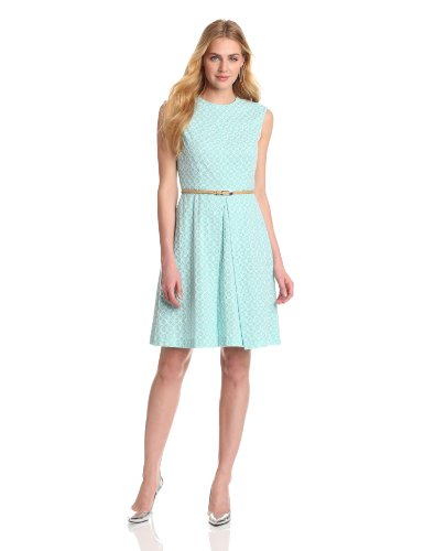 Evan Picone Women's Eyelet Dress, Cool Mint Combo, 14