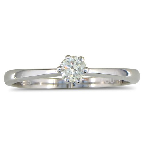 Sterling Silver Round Diamond Engagement Ring .15ct ( Sizes 4-10)