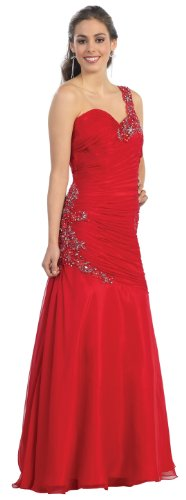 Prom One Shoulder Dress New Elegant Long Gown #805 (18, Red)