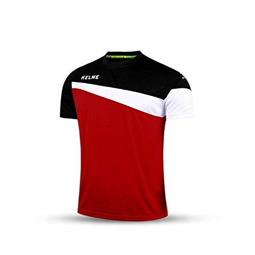 Kelme Calcio Maniche Corte Maglietta Team Traning Piastra uniforme, uomo, rosso/nero, XXL