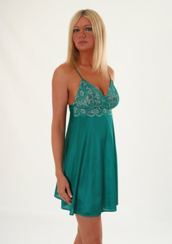 SeXy Plus Size Chemise Nightgown Lace Sapphire or Jade Queen Color Combo: Jade 1X