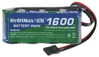 Hobbico HydriMax 4.8V 1600mAh 2/3A NiMH Flat Rx U Conn HCAM6308