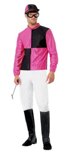 Smiffy'S Men'S Jockey With Top Trousers Bootcovers Hat And Goggles, Multi, Medium
