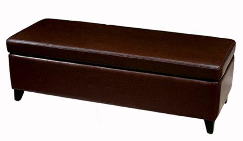 Black Friday Baxton Studio Full Leather Bench Storage Ottoman Espresso Brown Cheap Cheap