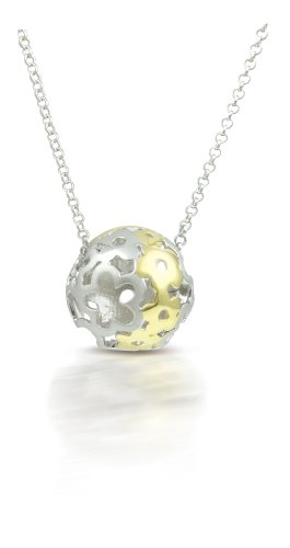 Sphere Of Life Flower Power Sterling Silver 18ct Gold Plating Ladies Pendant +18