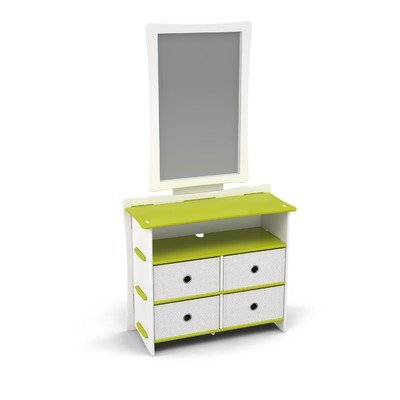 Cheap Legare Kids Dresser and Mirror Set in Green and White (DRGM-122 / MRWM-112)