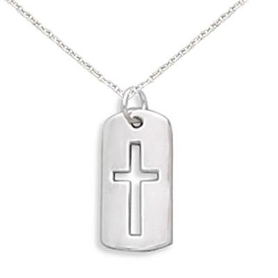 Children's Cross Necklace with Cut Out Tag Sterling Silver, 14-inch