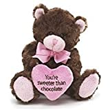 "Pink & Brown Little Teddy Bear ""You're Sweeter Than Chocolate"" Valentine's Da..."
