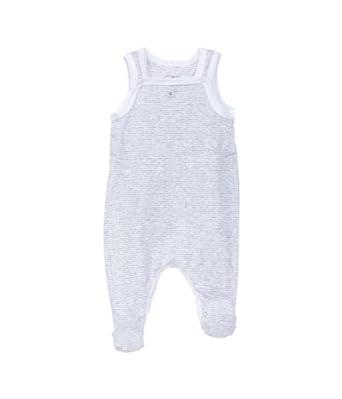 Petit Bateau - Grenouillère - À rayures - Mixte bébé - Multicolore (Poussière/Ecume) - FR: 1 mois (Taille fabricant: 1 Mois)