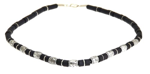 Surf Surfer Black & Silver Colour Bead Beads Necklace Choker - Style C