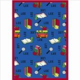 Joy Carpets Kid Essentials Language & Literacy Round Spanish Bookworm Rug, Blue, 7'7""