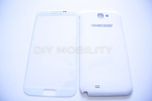 Samsung Galaxy Note 2 White Replacement Glass Screen With Back Cover N7100 N7199 T889 I317 - Diymobility