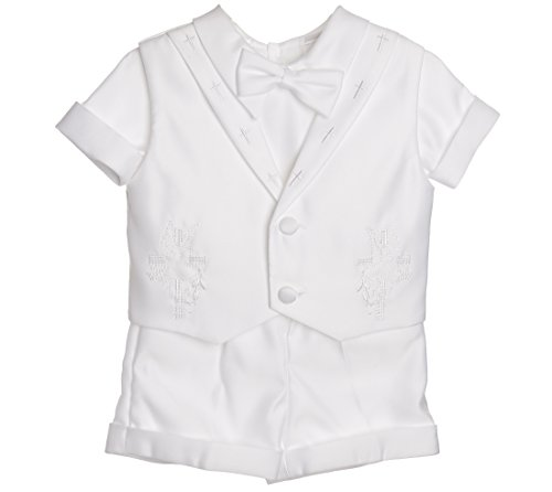 Boy Christening Baptism Shorts Set with Embroidered Cross Collar Vest (XS (3-6M))