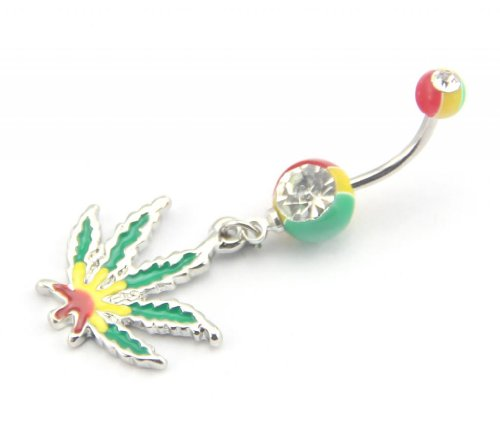 Baqi 14 Gauge Jamaican Pot Leaf Dangle Crystal Navel Belly Ring Bar Green