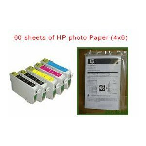 5 pack (2 black, 1 Cyan,1 Magenta, 1 yellow ink and 60 sheets of 4x6 HP brand glossy photo paper) remanufactured ink Cartridges to replace T0691/T069120, T0692/T069220,T0693/T069320,T0694/T069420 compatible for Epson Stylus C120 / CX5000 / CX6000 / CX7000F / CX7400 / CX7450 / CX8400 / CX9400Fax /CX9475Fax / NX100 / NX105 / NX110 / NX115 / NX200 / NX215 / NX300 / NX400 / NX415 / NX510 / NX515 and all-in-one AIO print/scan/fax/copy inkjet photo printer