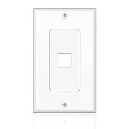 TNP Keystone Wall Plate (5 Pack) - 1 Port Keystone Insert Jack Single Gang Wiring Plug Socket Decorative Face Cover Outlet Mount Panel with Screws White (Cable Jack Insert compare prices)