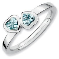 0.45ct Silver Stackable Aquamarine Db. Heart Band. Sizes 5-10 Available