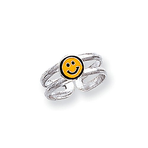Sterling Silver Yellow & Black Enameled Smiley Toe Ring