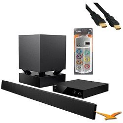 HTCT550W - 40-inch Sound Bar System with Wireless Subwoofer with HookUp Bundle. Bundle Includes AV Home Theater Power Protection (7 outlet, 2120 Joules protection) and 6 ft High Speed 3D Ready 120hz Ready 1080p HDMI Cable (Bulk Packaged).