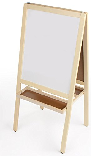 Double-Sided-Childrens-Easel-With-Magnetic-Chalkboard-and-Dry-Erase-Board-for-Kids-with-2-Storage-Trays-Natural-Solid-Wood-Frame