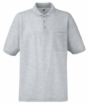 Mens Fruit of the Loom Pocket 65/35 Polo Shirt-Heather Grey-Small-FREE SHIPPING