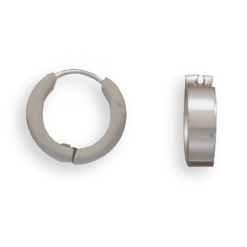 MMA Silver - 13.5mm x 3.5mm Stainless Steel Hoop Earrings