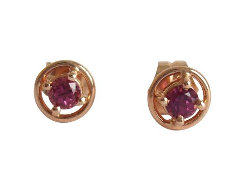 Solid 18k rose gold Tourmaline earrings