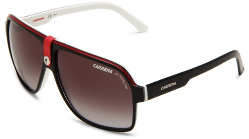 Carrera 33/S Aviator Sunglasses,Black Crystal White Frame/Grey Gradient Lens,one size