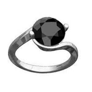 Attractive Designer 1.10 Ct Natural Black Diamond Solitaire 925 Sterling Silver Ring + Free Re*size