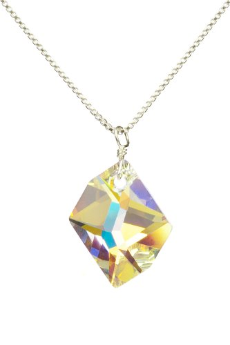 Sterling Silver Swarovski Elements Crystal Aurora Borealis Cosmic Pendant Necklace, 18″