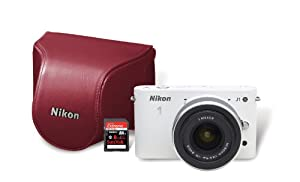 Nikon 1 J1 10.1 MP HD Digital Camera System with 10-30mm VR 1 NIKKOR Lens, 8 GB SD Card, and Case (White)