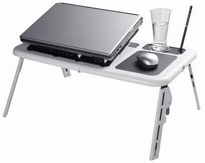 New Laptop USB Folding Table W/ 2 Cooling Fan + Mouse Pad!
