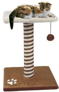 Produktabbildung von nanook Katzenkratzbaum LAZY, Größe XS (44 cm) mit Liegefläche und Spielball, braun weiß