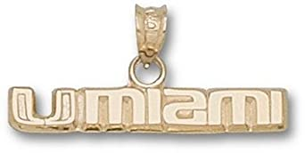 Miami Hurricanes UMiami 3 16 Pendant - 14KT Gold Jewelry by Logo Art