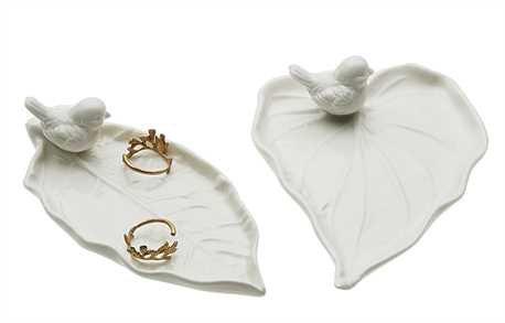 White ceramic song bird on leaf jewelry trays set of 2 for White ceramic bathroom tray