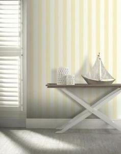 Arthouse Linen Stripe Wallpaper - Yellow by New A-Brend
