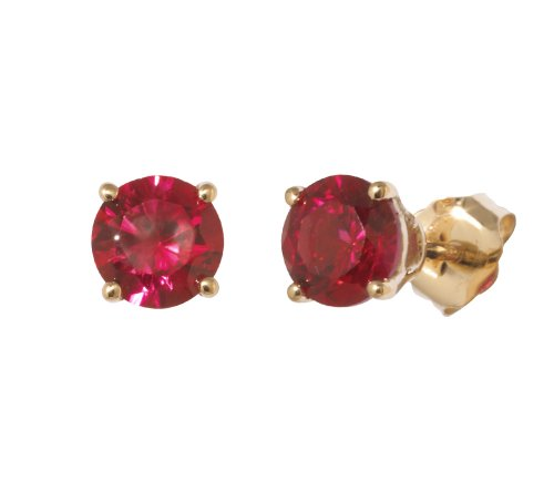 14k Yellow Gold 5mm Round-Shaped Created Ruby Stud Earrings