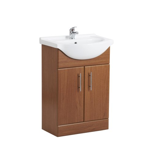 Calvados Brown Wood 550mm Bathroom Vanity Unit and One Tap Hole Ceramic Basin Chrome Handles