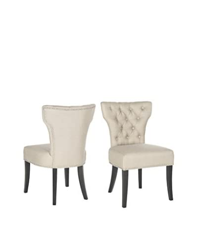 Safavieh Set of 2 Dharma Tufted Side Chairs, Biscuit Beige