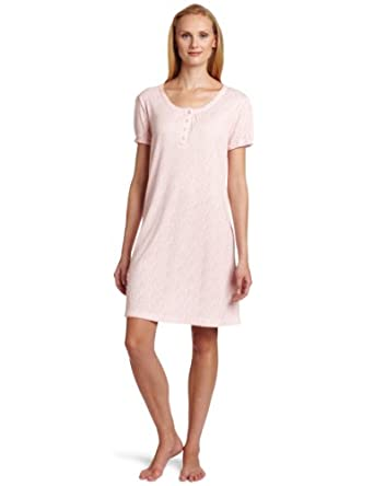 White Orchid Women's Short Sleeve Henley Sleep Shirt, Pink Ditsy, Small