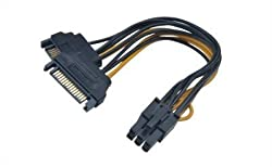 CNCT PCI-X 6 PIN TO SATA Male Y Video Card Power Cable IN 0.15M - 6 pin male to 2xSATA Male - suitable for connecting PCI-X Cards from NVIDIA and ATI with Power Supply from Cooler Master - Antec - Corsair - Thermaltek - NZXT